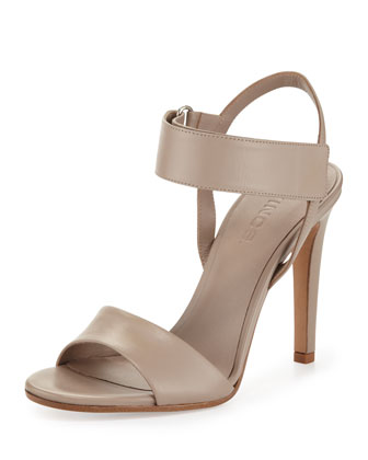 Genna Double-Strap Leather Sandal, Taupe
