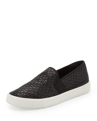 Preston Woven Leather Slip-On, Black