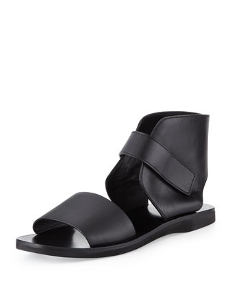 Sage Leather Ankle-Wrap Sandal, Black