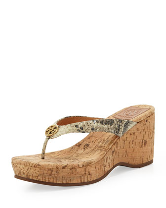 Suzy Snake-Print Thong Wedge Sandal, Natural
