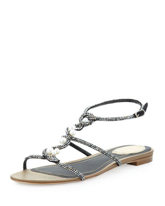 Pearly Crystal Flat Sandal, Black