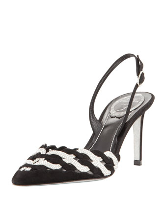 Woven Crystal Pointed-Toe Halter Pump, Black/Silver