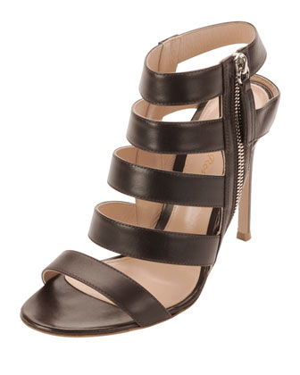 Ladder-Strap Leather Open-Toe Bootie, Dark Brown