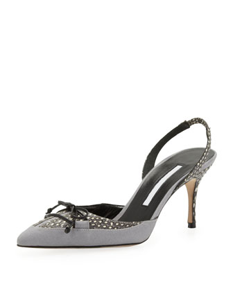 Perax Snakeskin Bow Halter Pump, Light Gray