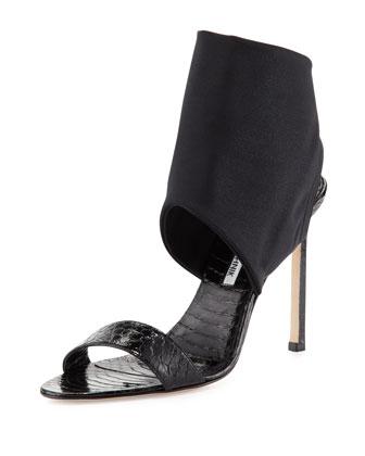 Saccopen Snake Ankle-Wrap Sandal, Black