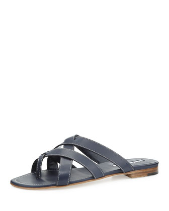 Lascia Woven Leather Thong Sandal, Blue