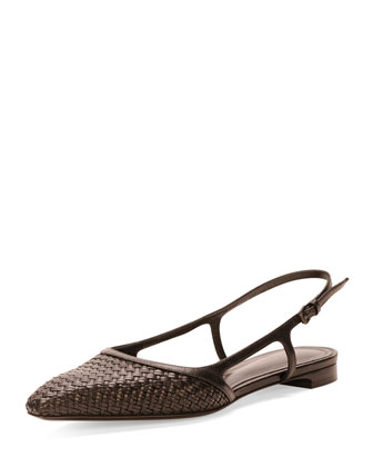 Woven Leather Slingback, Nero