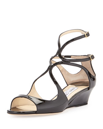 Inka Patent Wedge Sandal, Black