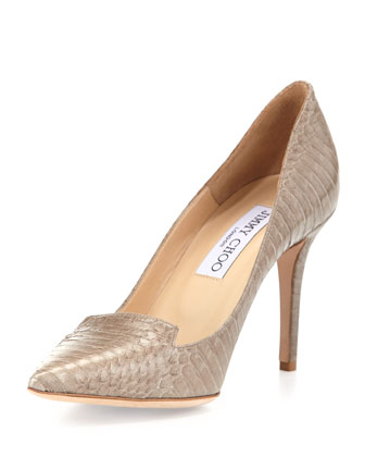 Alia Snakeskin Pump, Pebble
