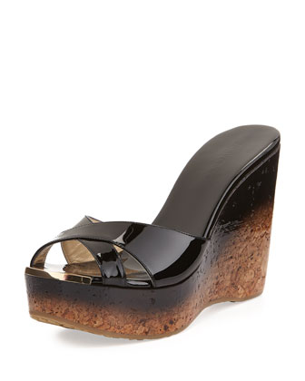Perfume Crisscross Degrade Wedge Sandal, Black