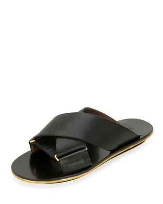 Saffiano Crisscross Slide Sandal, Coal