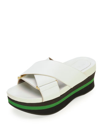 Crisscross Platform Wedge Sandal, Lilly White