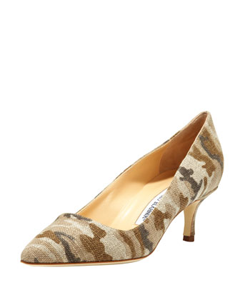BB Linen 50mm Pump, Camo