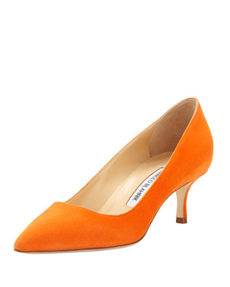 BB Suede 50mm Pump, Orange