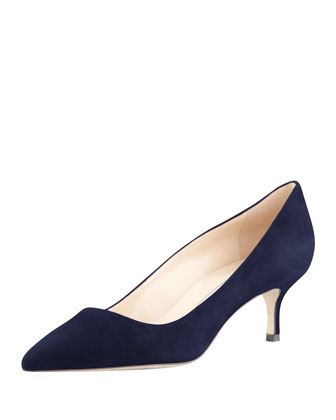 BB Suede 50mm Pump, Navy (Made to Order)