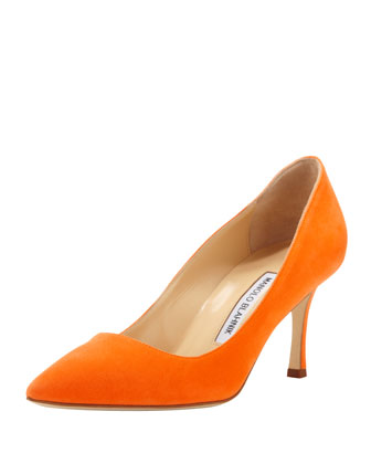 BB Suede 70mm Pump, Orange (Made to Order)