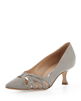 Gayatri Patent Cutout Low-Heel Pump, Gray