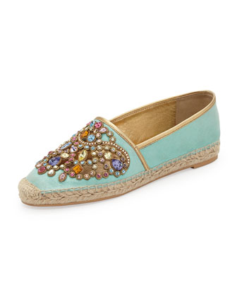 Jeweled Espadrille Flat, Aqua