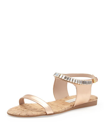 Metallic Crystal-Strap Sandal, Rose Gold