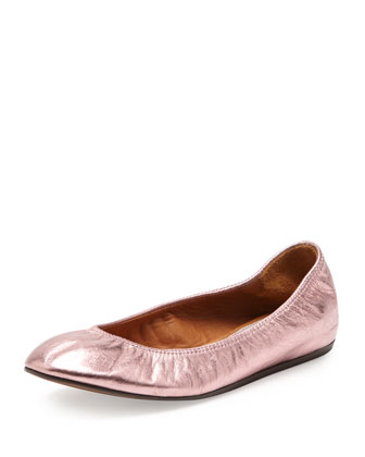 Metallic Leather Ballerina Flat, Pink
