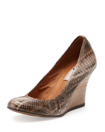 Painted Snakeskin Ballerina Wedge, Sand