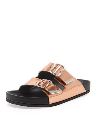 Swiss Metallic Flat Sandal