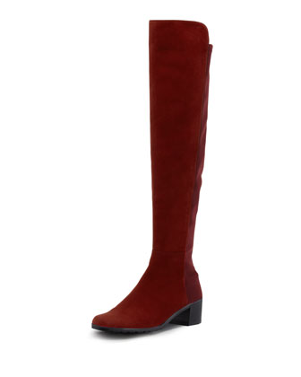 Reserve Suede Stretch Over-the-Knee Boot, Scarlet
