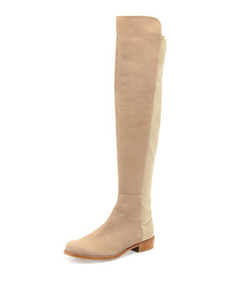 50/50 Narrow Nubuck To-the-Knee Boot, Tan
