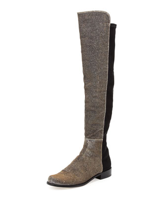 50/50 Narrow Metallic Stretch Over-the-Knee Boot, Pyrite Nocturn