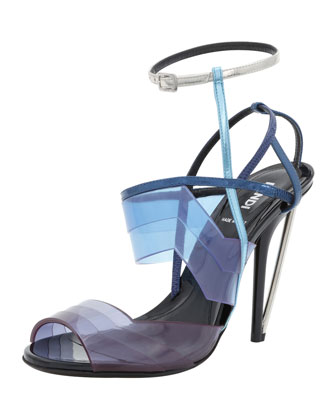 Colorblock PVC Sandal, Ocean Blue/Electric Blue