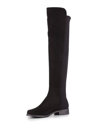 50/50 Wide Suede Over-the-Knee Boot, Black