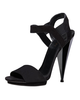 Liberty Suede Architectural Sandal, Black