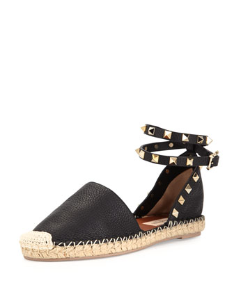 Rockstud Leather Espadrille Flat, Black