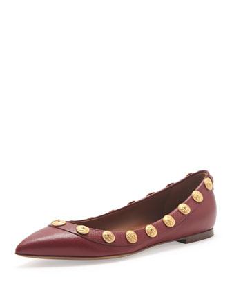 Studded Ballerina Flat, Scarlet