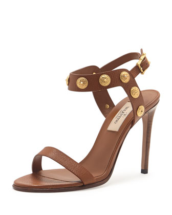 Leather Medallion Stud Sandal, Cognac