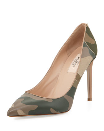 Patchwork Camo Pointed Pump, Safari