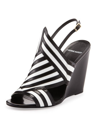Bicolor Wedge Sandal, Black/White