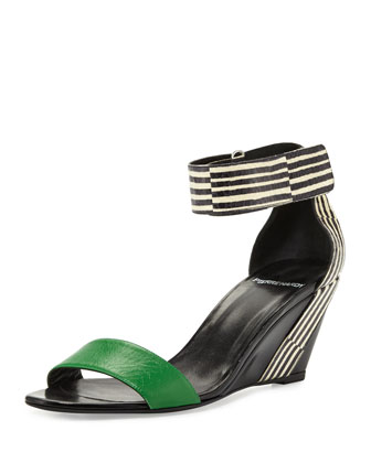Mixed-Media Demi-Wedge Sandal