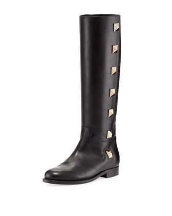 Rockstud Lock Flat Knee Boot, Black