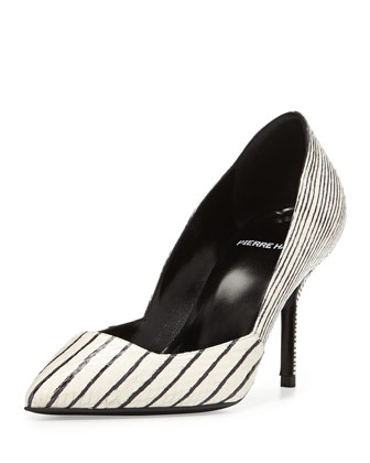 Snakeskin Point-Toe Pump, Black/White