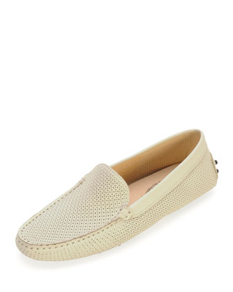 Perforated Leather Moccasin, White