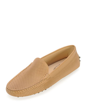 Perforated Leather Moccasin, Tan