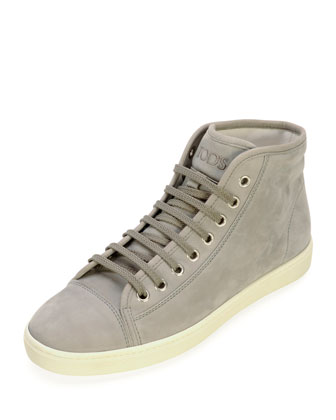 Nubuck Lace-Up Mid-Top Sneaker, Gray
