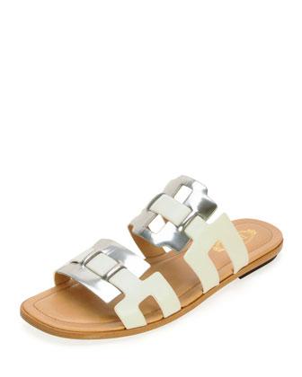 Metallic Banded Slide Sandal