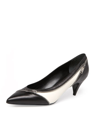 Bicolor Zipper Kitten Heel, Black/White