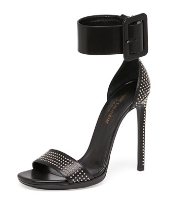 Studded Ankle-Wrap Sandal with Oversize Buckle, Black
