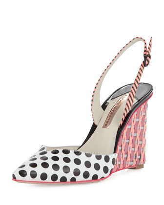 Lois Polka-Dot Slingback Wedge