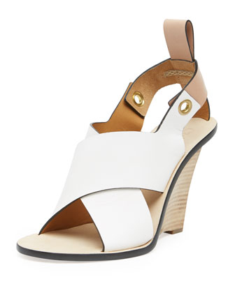 Crisscross Stacked Wedge Sandal
