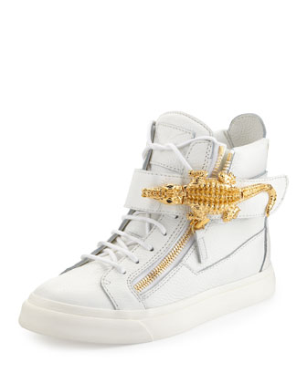 Crocodile Side Zip Hi-Top Sneaker, White