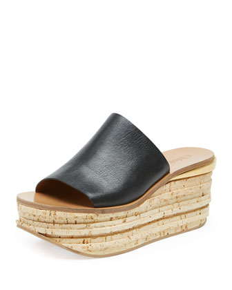 Slide Cork Wedge Sandal